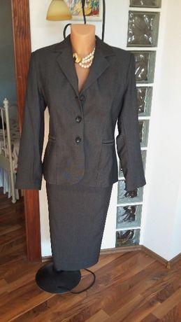 Costum elegant office cu fusta gri inchis 42 NOU