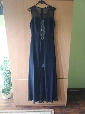 Тъмносиня официална дълга рокля