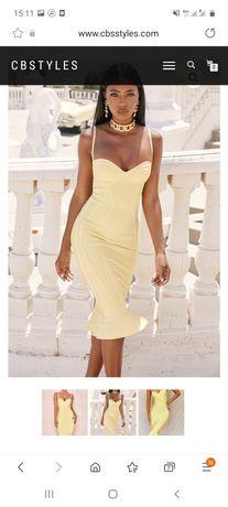 Vand rochie galben pal / deschis  bandage midi elegant de ocazie celeb