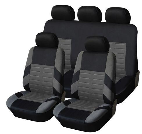 Set Complet Huse Scaune Auto Universale Textil Gri/Negru 9 buc