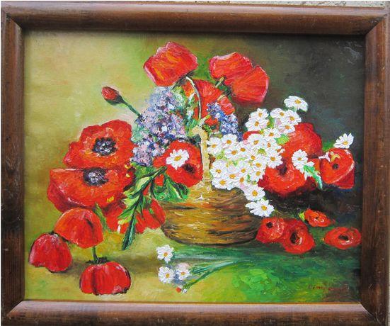 Tablou / Pictura cos cu flori semnat Cimpoesu.