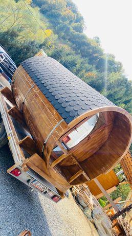 Sauna tip butoi cu incalzire pe lemn/electric