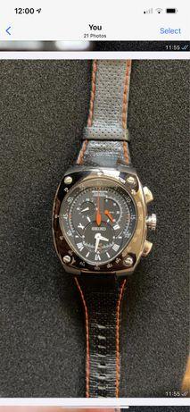 Ceas Seiko Automatic negru/argintiu/portocaliu 10 bar