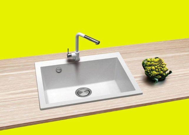 SET Chiuveta granit alb Zito Imola + Baterie Piave cu duș +accesorii