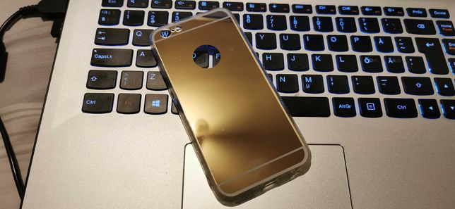 Husa spate oglinda Iphone 6/6S Gold hard case cu margini de silicon