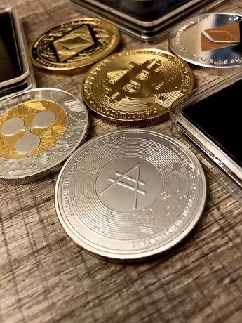 Монеты сувенирные Bitcoin, Ethereum, Ripple, Cardano