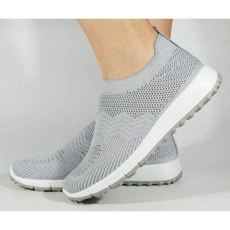 Pantofi sport slip-on gri tricotati elastic 138174