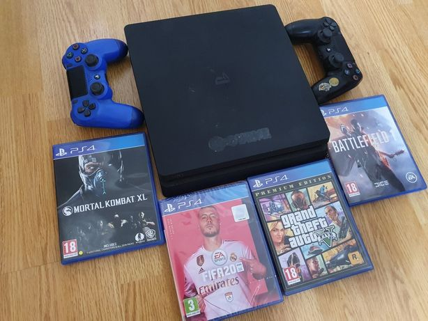 Playstation 4 ps4 slim cu fifa 20 sigilat, gtav, 2 controllere ..etc