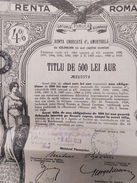 500 Lei Aur Titlu de Stat 1929 Renta Romana obligatiune neincasata