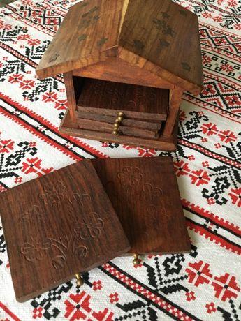 set vintage 6 coaster (suport pahare) din lemn de maslin, tip casuta