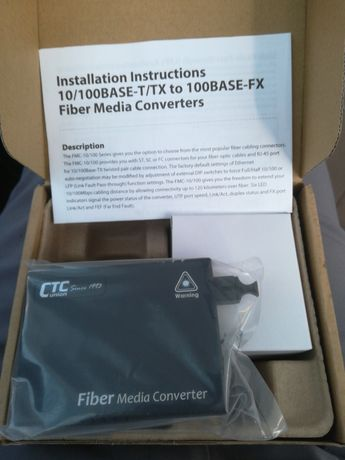 Fiber media converter ctc union communication 10/100 base - T/TX