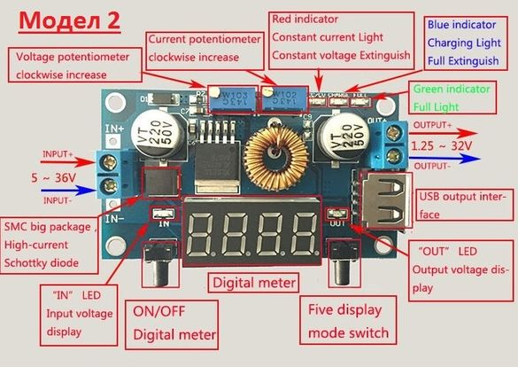 DC DC step down конветори; вход 5 - 36V, изход 1.25 - 32V; ток: 0 - 5А