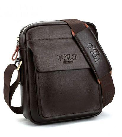 Изгодна Разпродажба на Polo Fanke Мъжка кожена чанта цвят Кафява