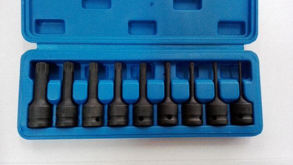 """Ударни накрайници дванадесетограми на вложка 1/2"""" - комплект 9 ч."""