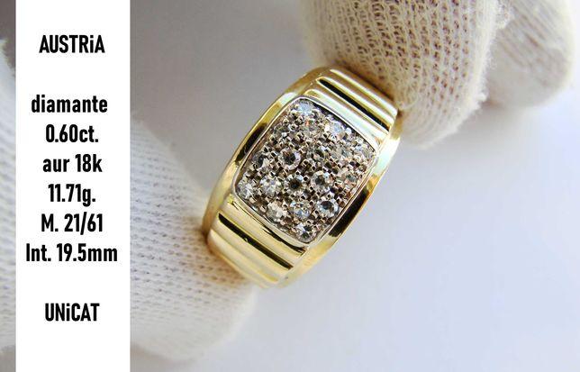 Ghiul aur barbatesc UNiCAT aur 18k inel cu diamante