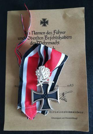 Decorație Crucea de fier in cavaler cu sabii si frunze stejar