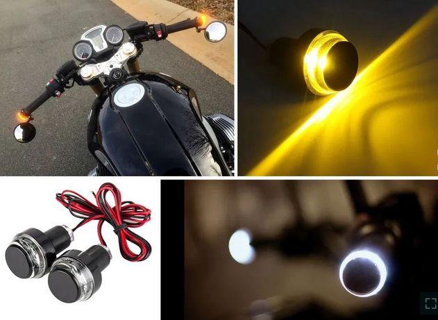 Semnalizatoare moto capete ghidon semnale cafe racer naked bar end LED
