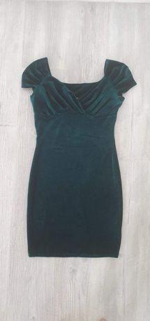Rochie verde catifea