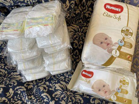 Huggies Elite Soft.1размер-54шт и Pampers-1размер-52шт