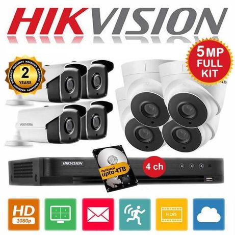 Sistem 4 Camere de supraveghere TOP 5 MegaPixeli HIKVISION+Instalare