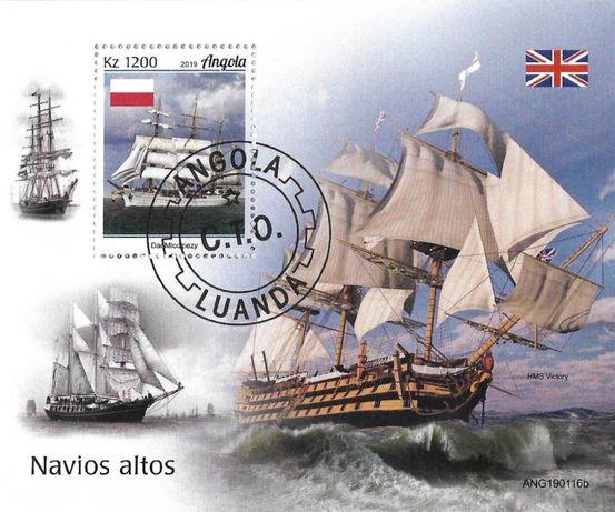 Super timbre colita stampilata Angola, corabii inalte
