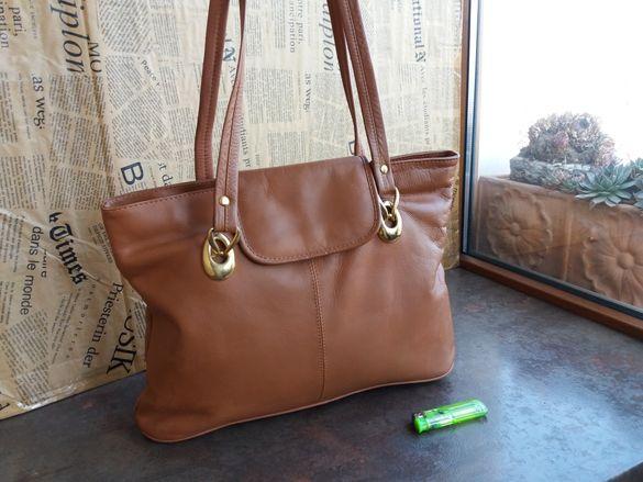 Италианска чанта/цвят коняк-естествена кожа