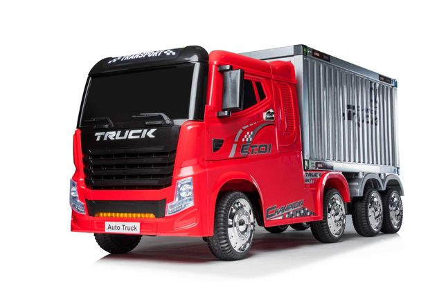 Camion electric cu semiremorca BJJ2011 4x4 140W PREMIUM #Rosu