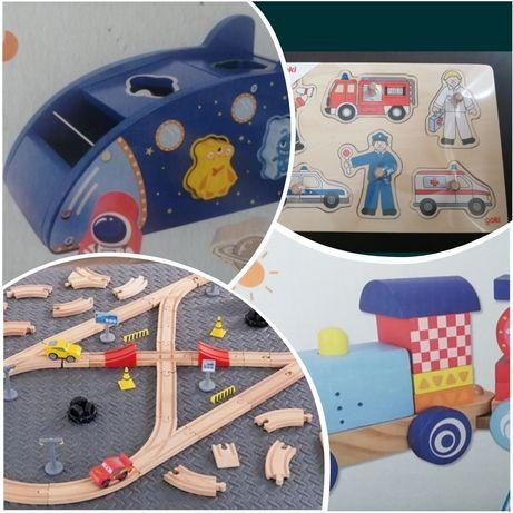 Дървени играчки, влакче, образувателни игри