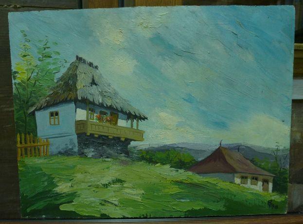 Ulei pe Carton - Peisaj de tara - Semnata Datata '78 (1978) 30/25 cm