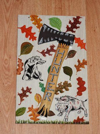 картина, брадва, глиган и вълк ,подарък за ловджии