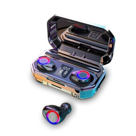 Безжични слушалки ТWS M12 LED с тъч контрол и вграден фенер
