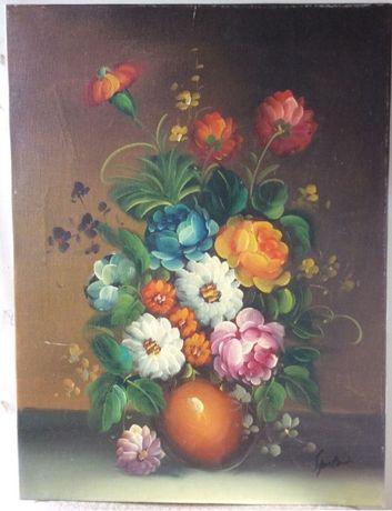 Tablou pictura ulei pe panza: vaza cu flori, semnat