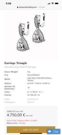 Обеци с диаманти