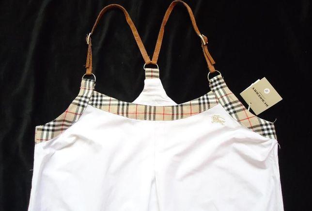 Rochie scurta sarafan fashion bumbac bretele piele maro buzunare vara