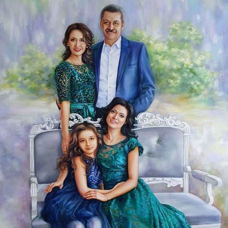 Портрет (маслом)алматы на заказ по фото,картины,репродукции