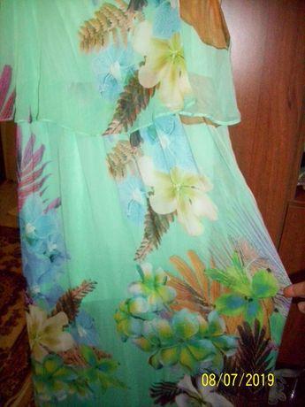 Rochie lunga voal mar L-XL multicolora