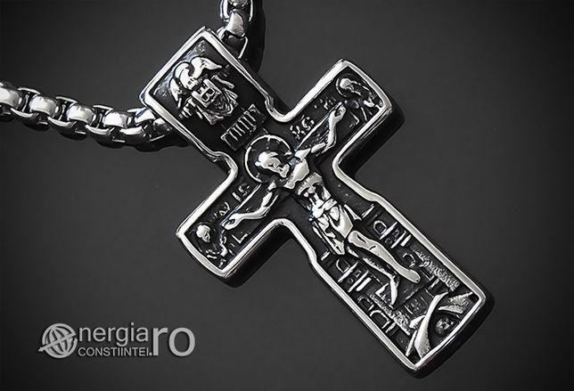 Pandant Amuleta Pandantiv Cruciuliță Iisus Hristos INOX - cod PND185