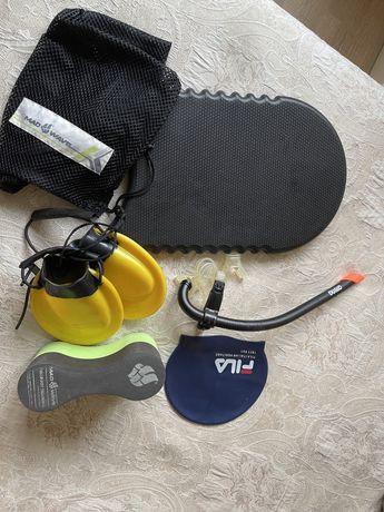 Доска, трубка, ласты, колобашка, шапочка, сетка  для плавания