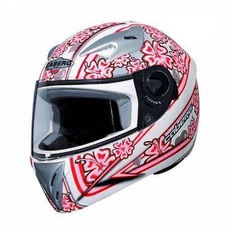 Vand Casca CABERG V-Gal Flower Motorcycle Helmet White/Pink- M