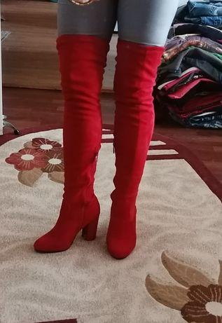 Vând cizme lungi de catifea