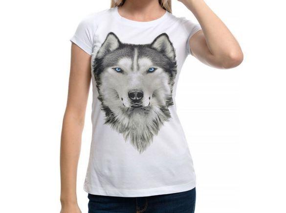 Нова дамска тениска с дигитален печат хъски със сини очи