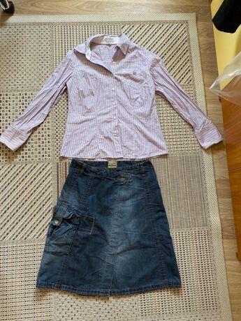 Комплект дънкова пола с риза