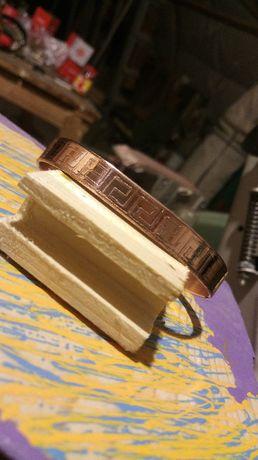 Bratara de cupru gravata in relief Handmade