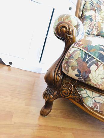 Vand canapea cu doua fotolii lemn masiv! Stare impecabila!