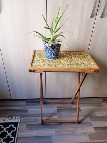 Măsuță pliabilă din lemn cu blat din faianță (handmade)