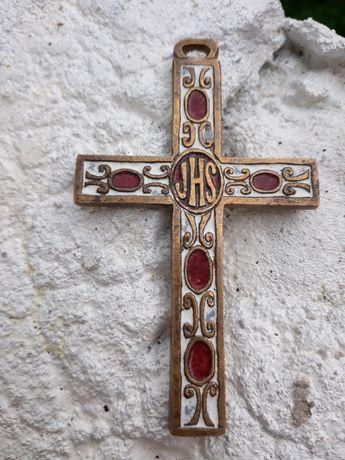 Cruce crucifix bronz cupru emailata