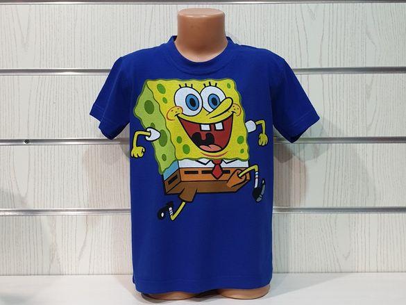 Нова детска синя тениска с дигитален печат Спондж боб, SpongeBob