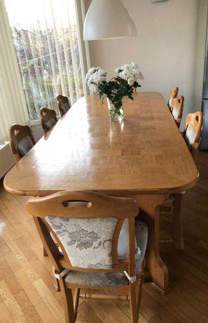 Masa lemn cu furnir stejar + 6 scaune