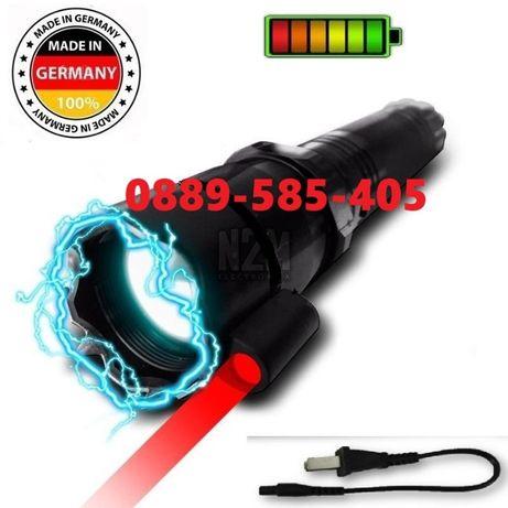 3в1 Мощен немски POLICE електрошок LED фенер Лазер шок лампа зашита