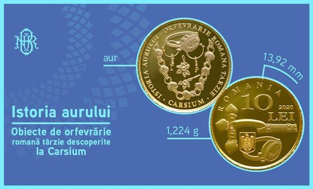 Moneda BNR cu certificat 10 lei AUR Istoria AURULUI orfevrarie CARSIUM